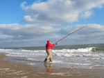 Beach casting off a Co. Wexford strand for dabs, flounder and codling.