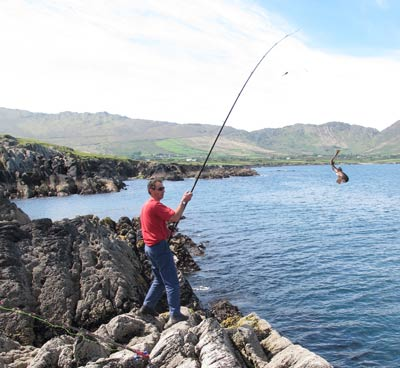 Fishing the rocks at Urhan, near Eyeries, Beara, West Cork