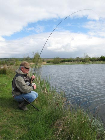 Mark Corps playing a good fish, Rathcon, Co. Wicklow