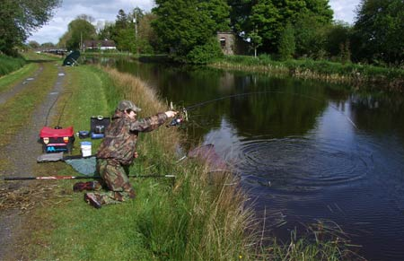 Playing a tench on the Royal Canal, Ireland