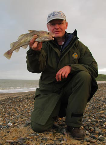 Summer codling surf casting from a Wicklow beach