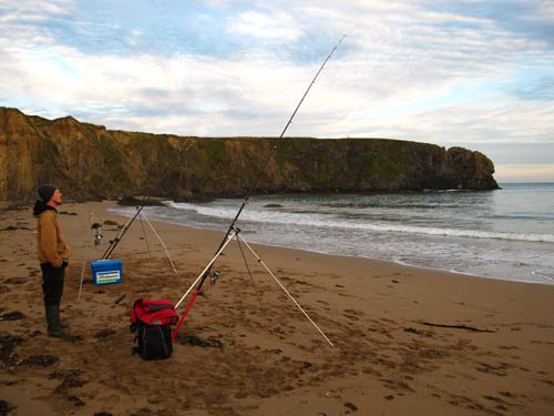 Beach fishing along the Hook peninsula, Co. Wexford