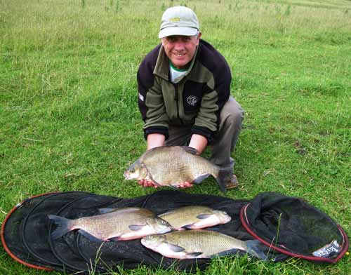Angling guide Peadar O' Brien with a fine catch of County Monaghan, Ireland, bream.
