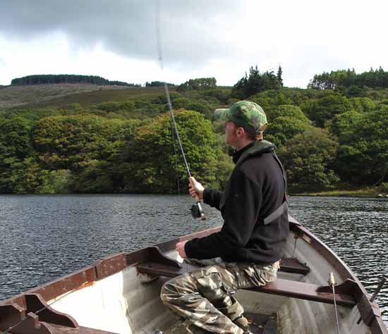 Gary casting a team of wet flies, Lough Dan, Co. Wicklow.