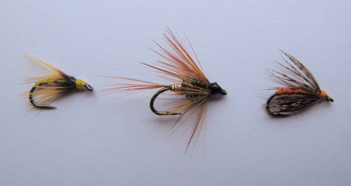 Slaney flies, L-R: Greenwells Spider, Kill Devil Spider, Partridge and Orange.
