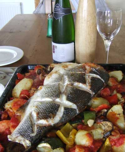 Roasted Whole Bass and Mediterranean Vegetables.