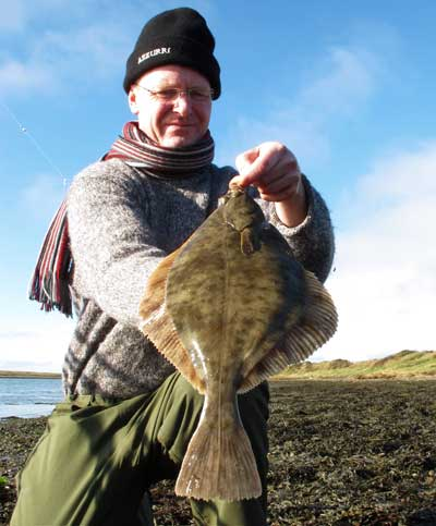 Two pound plus county Wexford, Ireland, flounder taken on peeler crab.