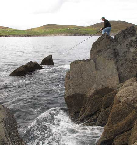 Rob Hume wrasse fishing on the Beara Peninsula, West Cork, Ireland.