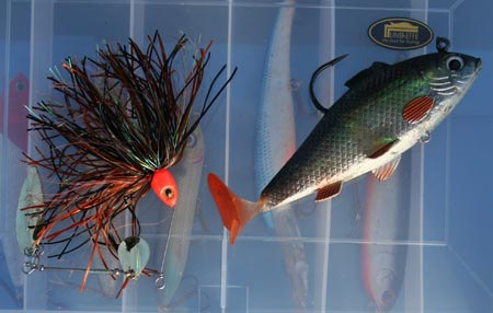 Lures for pike fishing.