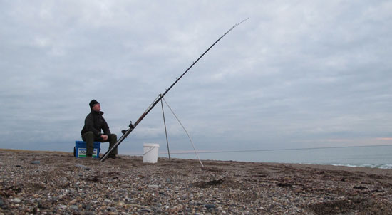 Winter beach fishing south county Wexford, Ireland.
