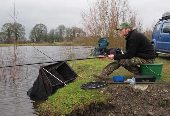 Anglers coarse fishing the marina, a venue smack in the centre of Athy town, Co. Kildare, Ireland.