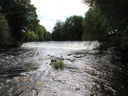 The weir at Aughrim village, Co. Wicklow.