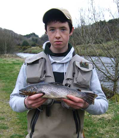 David Armstrong with a large Avonmore brownie caught czech nymphing below Rathdrum bridge.