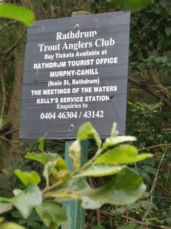 Rathdrum Trout Anglers notice on the Avonmore River.