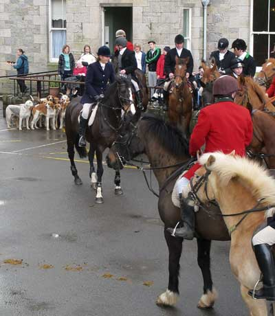 Ready for the off, Shillelagh and District Hunt members gather outside the Ardeen Cheshire Home.