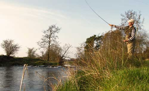 Downstream wet fly on the River Derreen, Co. Carlow, Ireland.