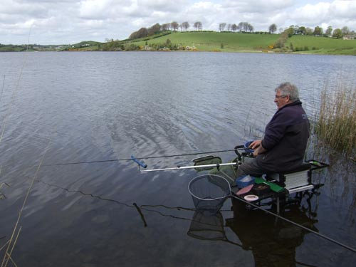 Dick Caplice coarse fishing on Concra Wood, Lough Muckno, Co. Monaghan, Ireland.
