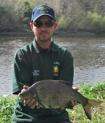 Carlow Coarse Angling Supplies Gerry McStraw with a fine River Barrow, Ireland, bream.