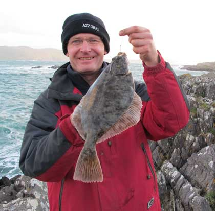 A Beara flounder tempted by lugworm tipped with white ragworm.