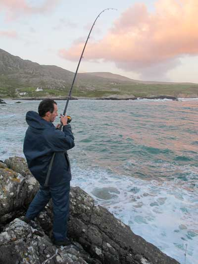 Evening sea fishing during rough conditions on the Beara Peninsula, Ireland.
