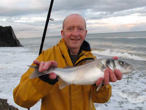 A school bass from a Wicklow beach for marine scientist Ed Fahy.