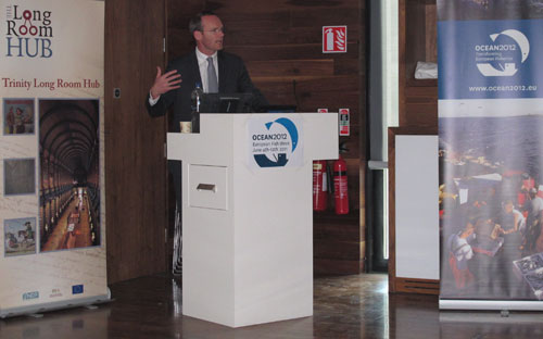Minister for the Marine Simon Coveney addressing the Oceans 2012 event at Trinity College on World Oceans Day June 8th 2011.