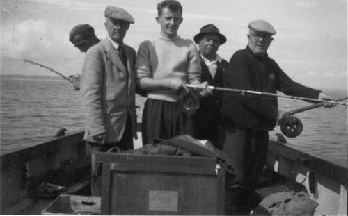 Sea anglers off Greystones, Co. Wicklow, Ireland, image taken in the 1950's/60's courtesy of Alan Duthie.