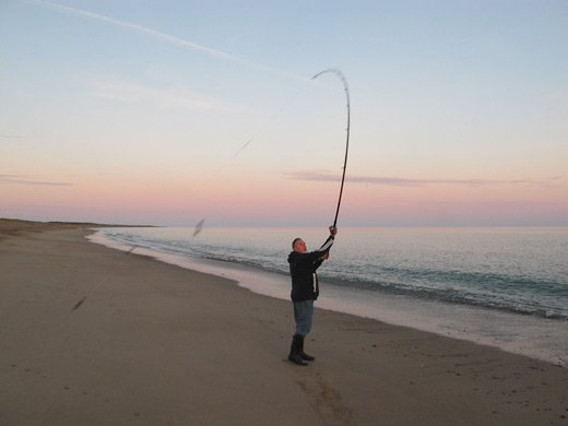 Surf casting in Co. Wexford, Ireland.