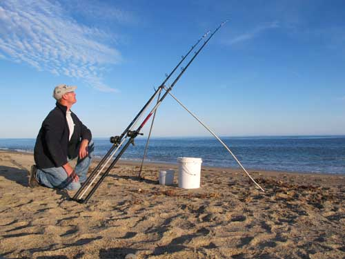 Evening beach fishing in south Wexford, Ireland.