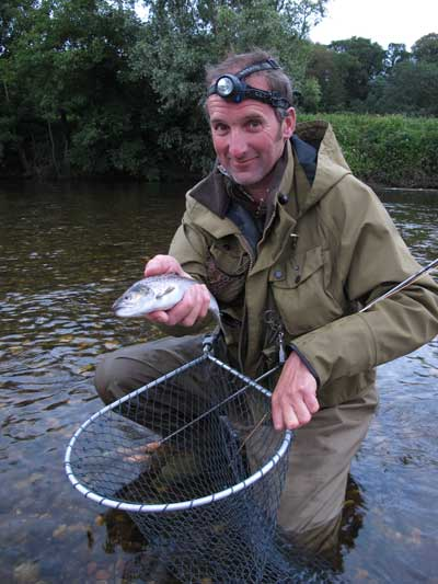 David Balsdon with a hard won River Slaney sea trout tempted by a Kill Devil Spider.