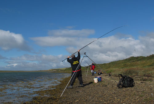 Penlan SAC's John Richards lobbing a crab bait at Cullenstown, Co. Wexford.