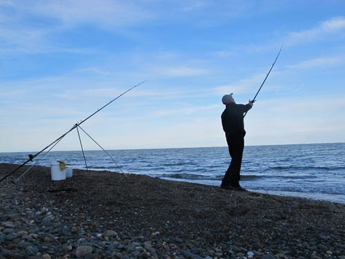 Popping out a bait for smooth hounds, Co. Wicklow, Ireland.