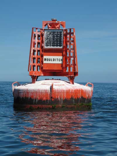 The famous red Moulditch buoy off Greystones, Co. Wicklow, Ireland.