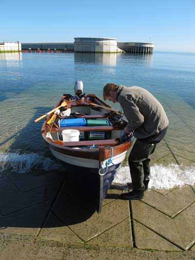 Launching the Jean Anne off the new slip at Greystones, Co. Wicklow, Ireland.