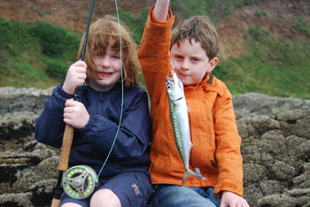 Ruth and Dan Hendrick share a traditional summer pastime, catching mackerel for tea.
