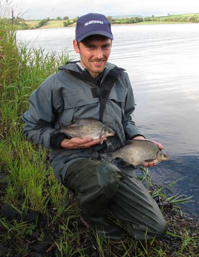 Tom from Belgium with a brace of Lough Muckno bream.