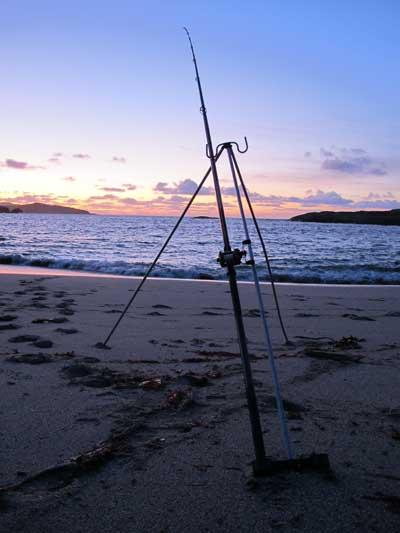 Waiting for a bite, November sunset on the Beara.