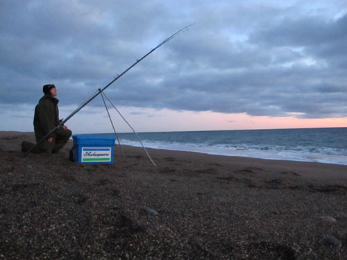 Dusk, late November beach fishing in South Wexford, Ireland.