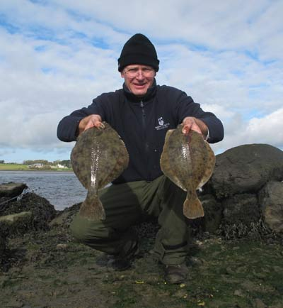 A brace of estuary flounder from County Wexford, Ireland.