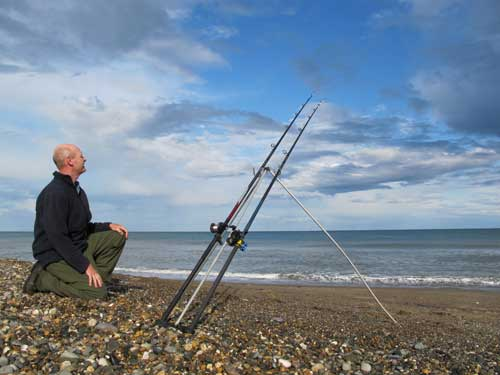 Shore fishing from a Co. Wicklow strand.