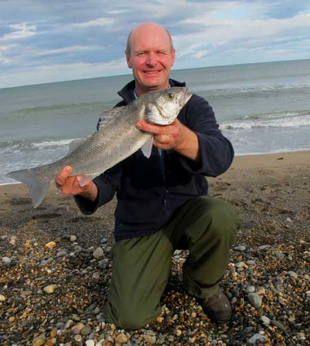 Shore caught bass taken on fresh razor clam, Co. Wicklow, Ireland.