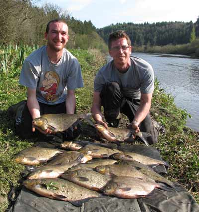 A 60.lb haul of River Barrow bream for delighted anglers Graham Pepper and Keith Marsella.