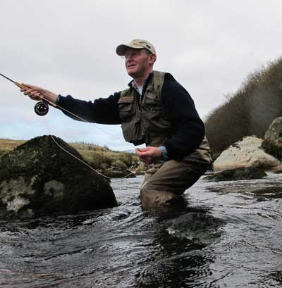 Downstream wet fly fishing in County Wicklow, Ireland.