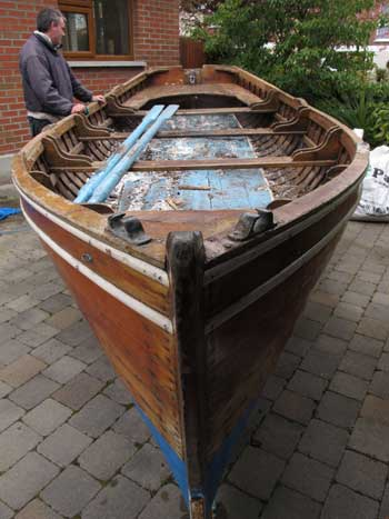 Bow shot of a clinker design boat constructed by William Redmond, Boat Builder, Greystones, Co. Wicklow.