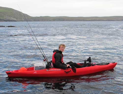 Kayak angler Gary Robinson aboard his well kitted out yak.