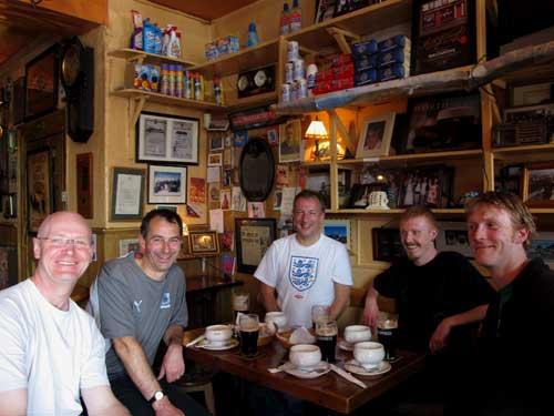 Enjoying the craic, a liquid lunch in deepest West Cork, Ireland.