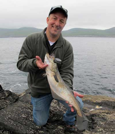UK tourist angler Dave Hoskins with a grand West Cork pollack.