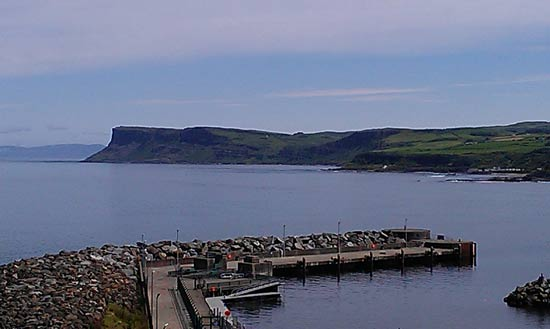 Ballycastle harbour looking across to Fair Head.