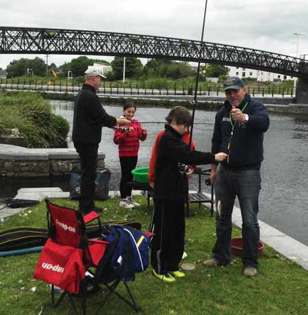River bank schooling, learning to fish with Carlow Coarse Angling Club, River Barrow, Carlow Town Park.