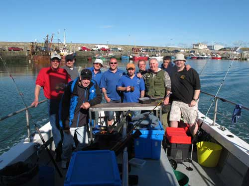 Welsh tourist anglers departing for a days fishing off Kilmore Quay, Co. Wexford.